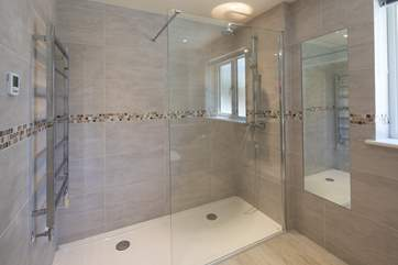 Ground floor shower-room boasts this glorious shower cubicle, WC and wash-basin.