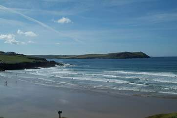The fabulous beach at Polzeath - a favourite of both families and surfers.