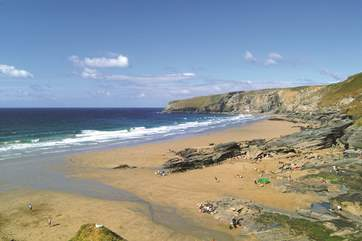 The beach at Trebarwith is a little over a mile away.