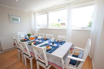 With sea views from the dining-room