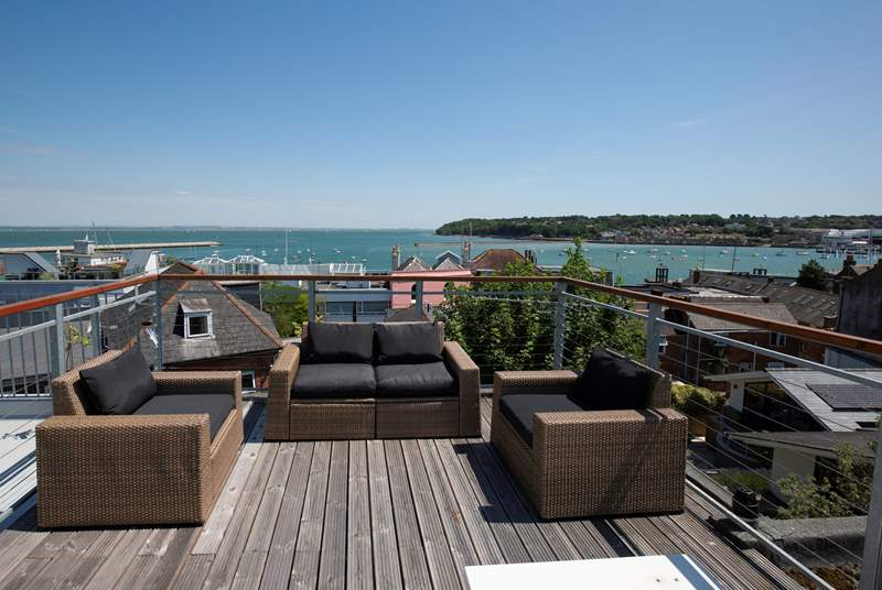Relax and enjoy the stunning view across the Solent from the roof top terrace