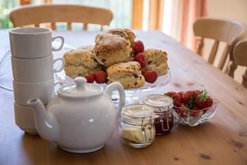 This delightful home-baked cream tea awaits your arrival.