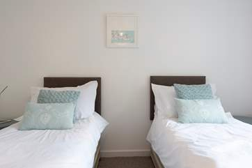 The second bedroom has zip and link beds, they can be made up as a king-size double or twin beds.