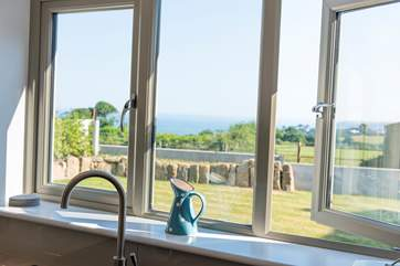 A lovely sea view from the kitchen and sitting-area.