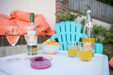 The outside patio area is a great place to unwind with a glass of something nice!