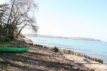 The idyllic Ducie beach accessed from an unmade road in Bembridge village centre