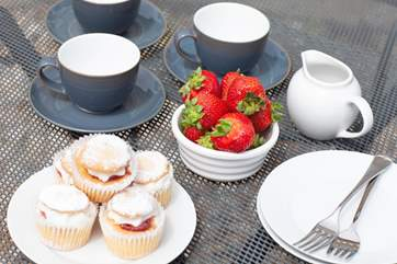 Cream tea on the terrace
