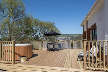 The huge decking is perfect for everyone to gather together.