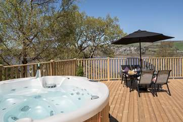 Enjoy the amazing views whilst in the bubbling hot tub.