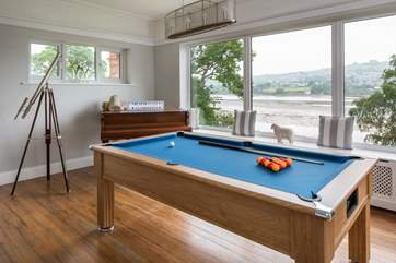 This full-size pool table is a real hit on a drizzly day.