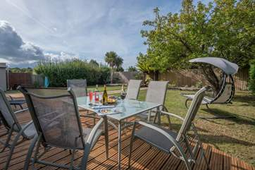 The secure garden with decking is perfect for families