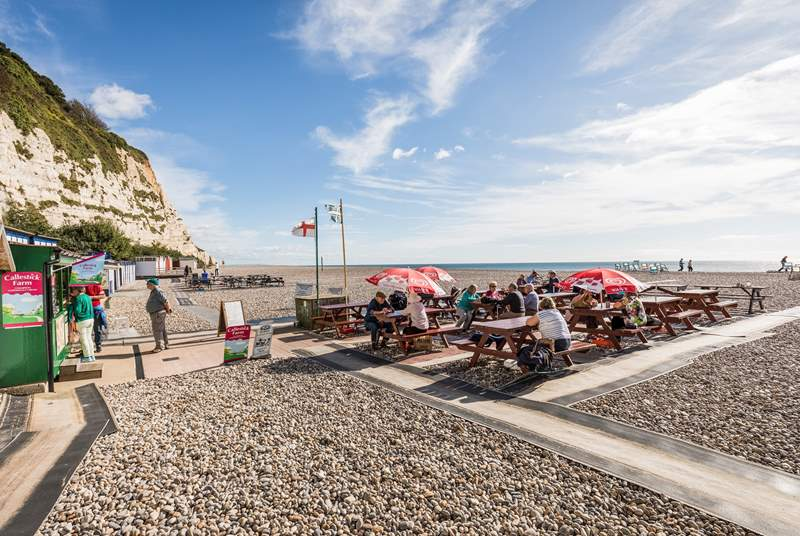 The beach at Beer, has a choice of 3 cafes from Easter to October half term and boat trips during the summer months.