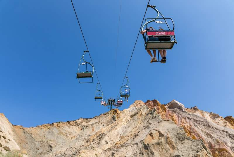 The famous chair lift takes you from the Needles to the beach below.