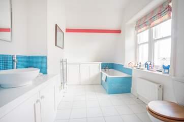 The second floor bathroom, with washing facilities.