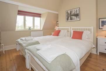 A second floor twin bedroom.