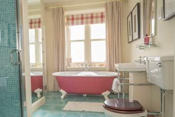 The spacious first floor bathroom with separate shower cubicle.