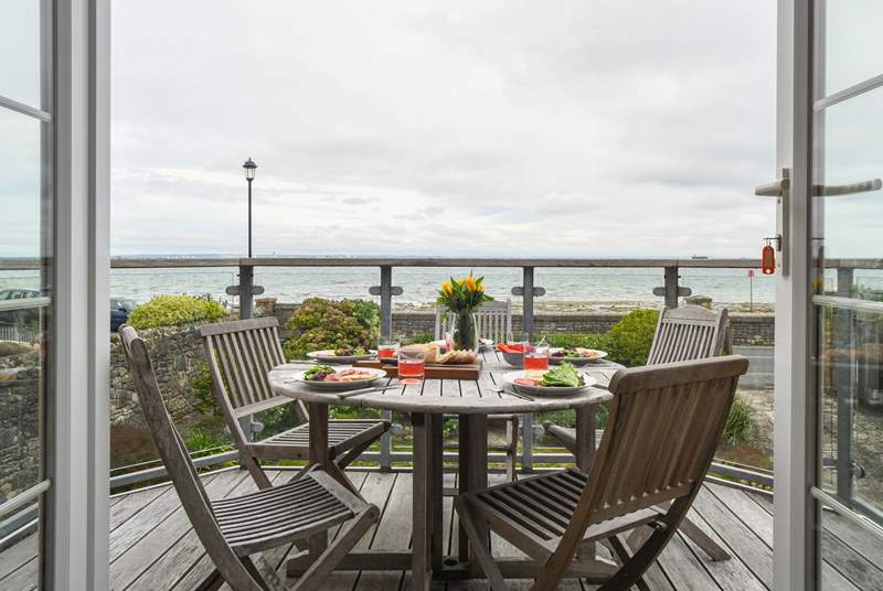 Dine al fresco with a superb view across the Solent.