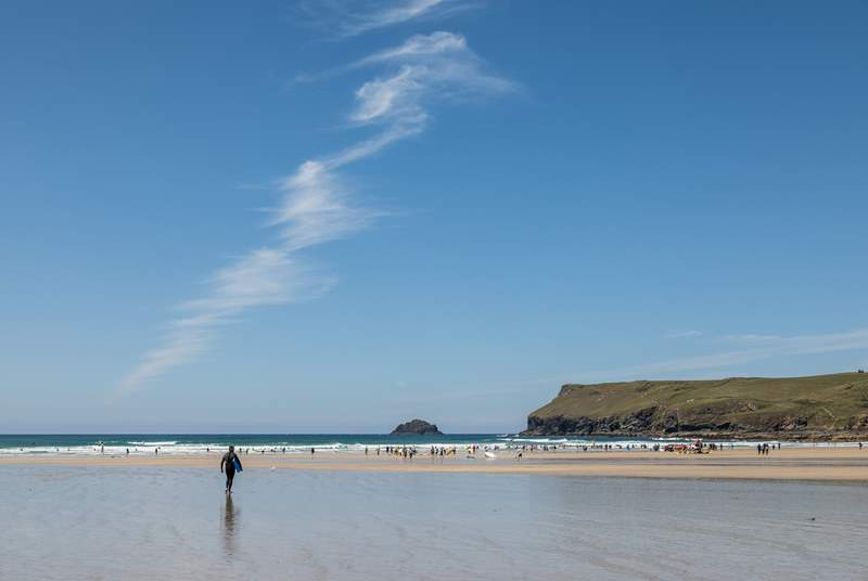 The beach at Polzeath is simply glorious and a favourite with surfers and families alike.