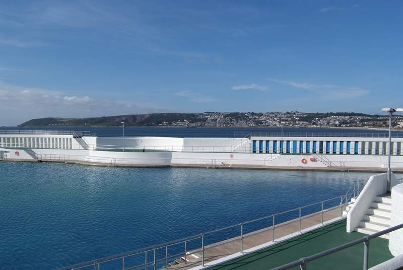 A swim in the open-air Jubilee swimming pool in Penzance.