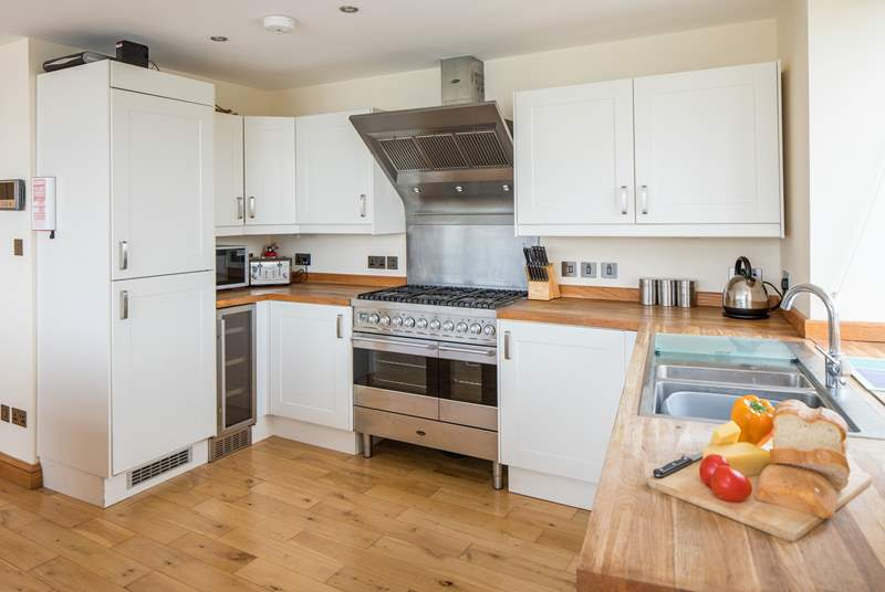 The large and well-equipped kitchen.