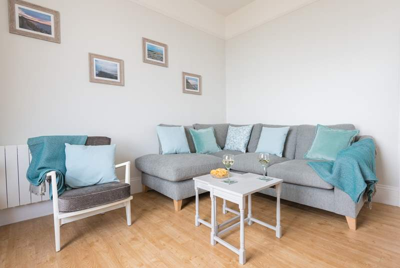 This newly refurbished apartment has wonderful sea views from the sitting-room.