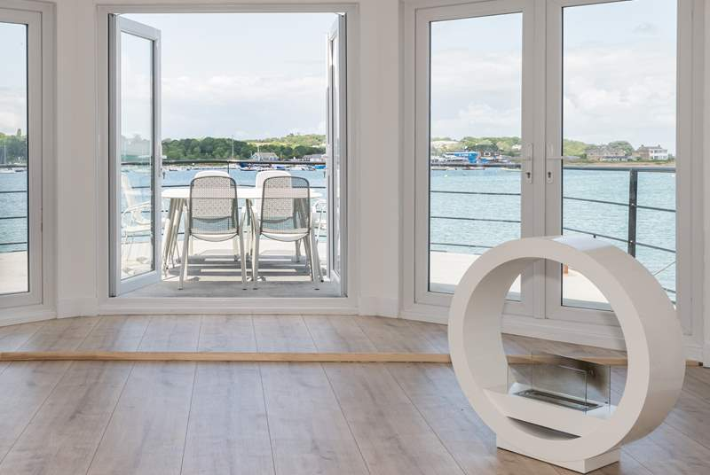 There are panoramic views from the living-room and a feature gas fire.