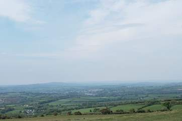 Looking down on Tavistock nestling in the moor - with a further view down to Cornwall.