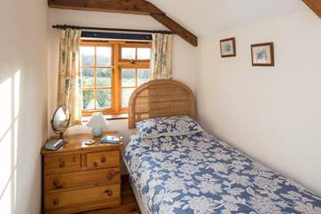 The snug single bedroom with fabulous views out over the rolling contryside.
