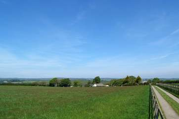 There are wonderful far reaching countryside views from the neat farm track leading to the cottage.