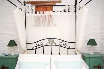 The very romantic bedroom on the lower floor.