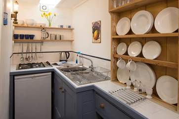 The compact kitchen.