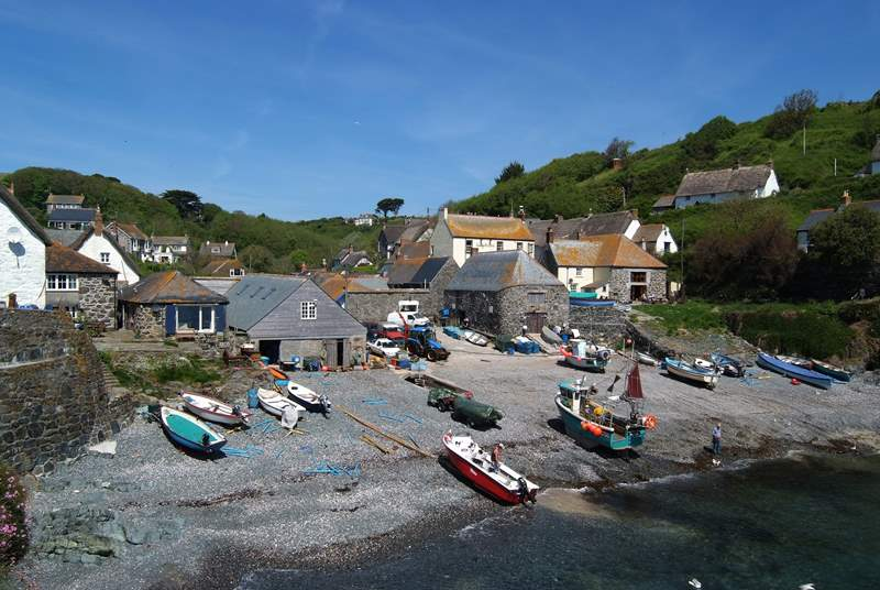 Beach Cottage is the property to the left of the picture, with the blue shutters.