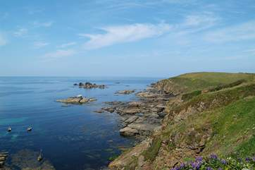 The South West Coast Path follows the coastline; this is at Lizard Point.