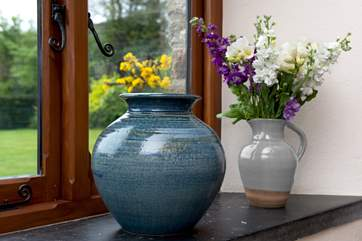 The Owner's beautiful pottery is on display throughout The Granary.
