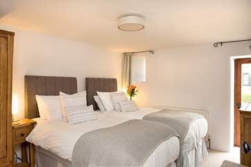 Bedroom One can either be made up as a kingsize bed or 2 single beds