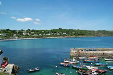 The pretty harbour, a few yards from the village pub, is about a fifteen minute downhill walk away.