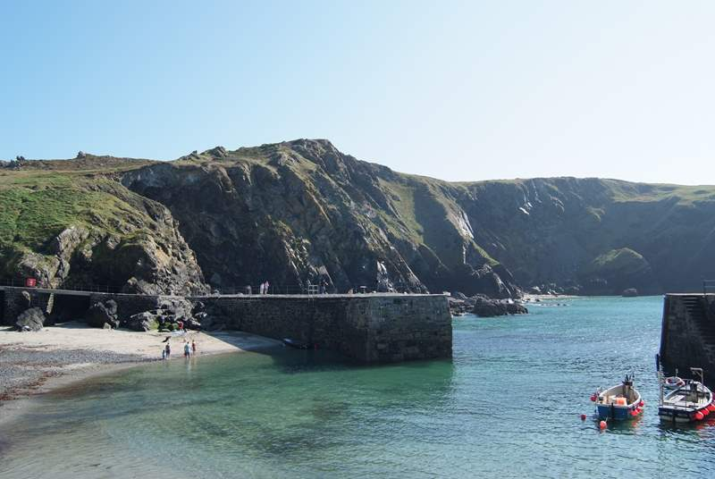 Pretty Mullion Cove harbour.