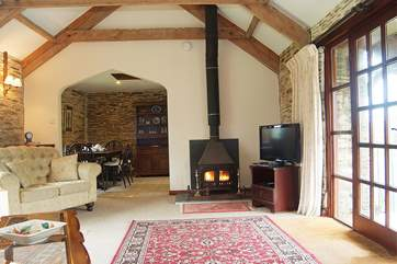 Although the cottage is warm and cosy with full central heating, the wood-burner adds a cheerful glow on damp days.