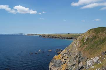 The fabulous views from Mullion Cove along the coastline towards Porthleven and Mounts Bay beyond.