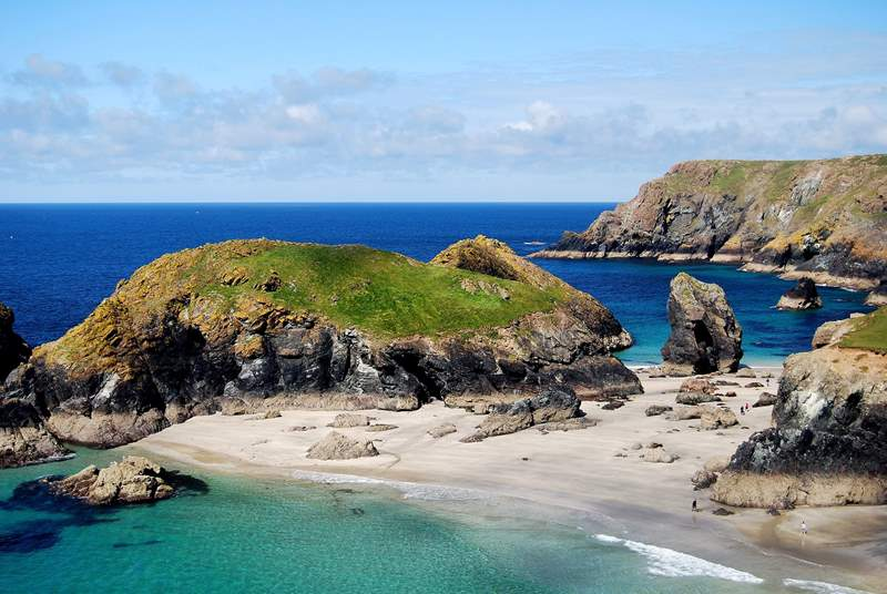 Spectacular Kynance Cove is an exhilarating clifftop walk away along the coastal footpath.
