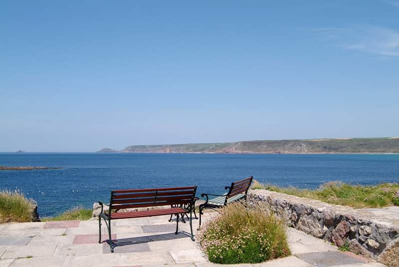 The view to Cape Cornwall from the terrace.