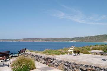 The view to Sennen Cove from the terrace.