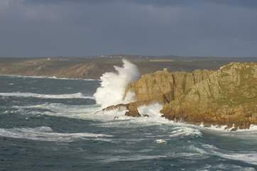 The cliffs at Sennen in a storm.