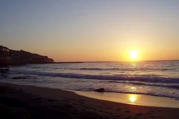 Sunset over the beach at Sennen.