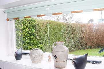 An array of pots on the kitchen window sill.