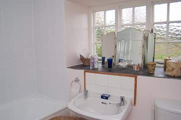 The sparkling white bathroom.