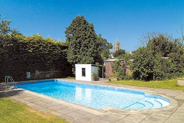 There is a fabulous open-air swimming pool for you to enjoy. It is not heated but great fun in a wet suit if you are not so brave !